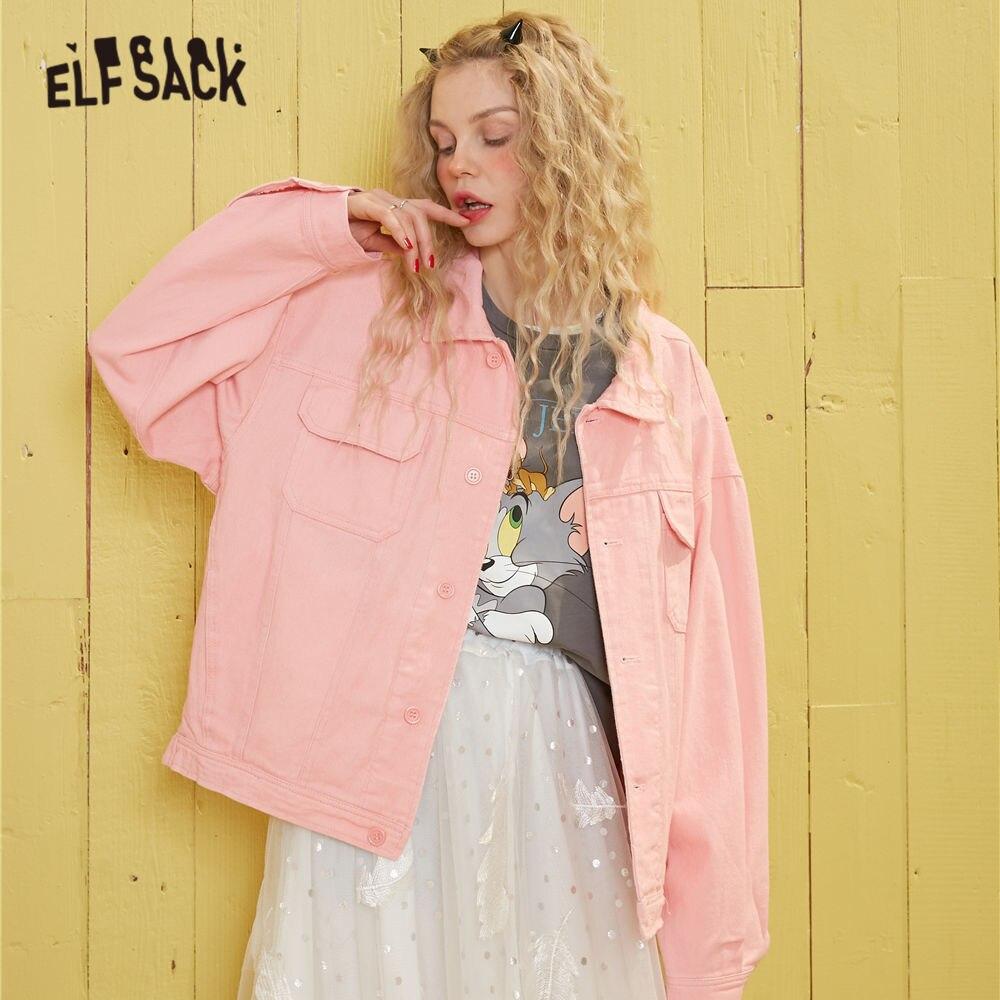 ELFSACK Rosa sólido solo pecho estilo coreano mujeres Chaqueta corta 2020 primavera blanco puro bolsillo suelto casual señoras Outwears