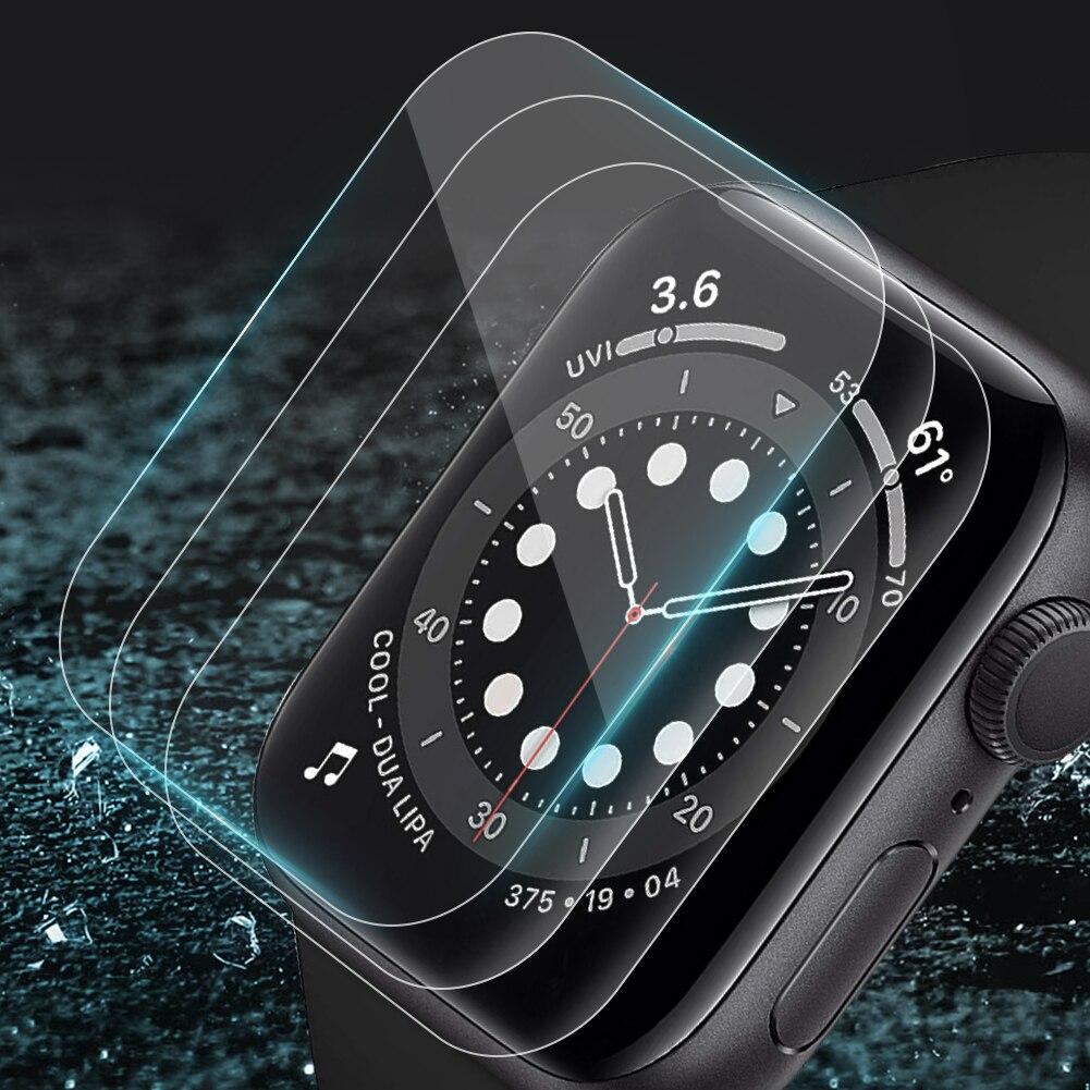 Мягкая защитная ПЭТ-пленка для экрана Защитная пленка для Apple Watch 38 мм, 42 мм, 40 мм 44 анти-пузырь закаленная пленка для наручных часов iwatch, 6/5/4/3/2/...