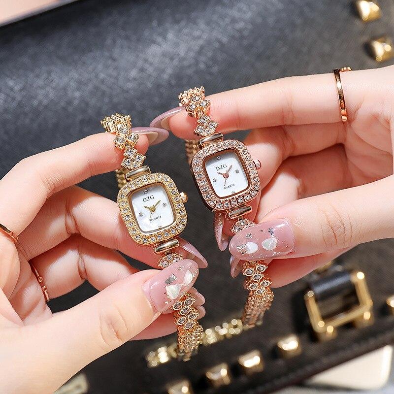 Relógio de Quartzo Novo Relógio Quadrado Feminino Diamante Casual Simples Temperamento Pulseira