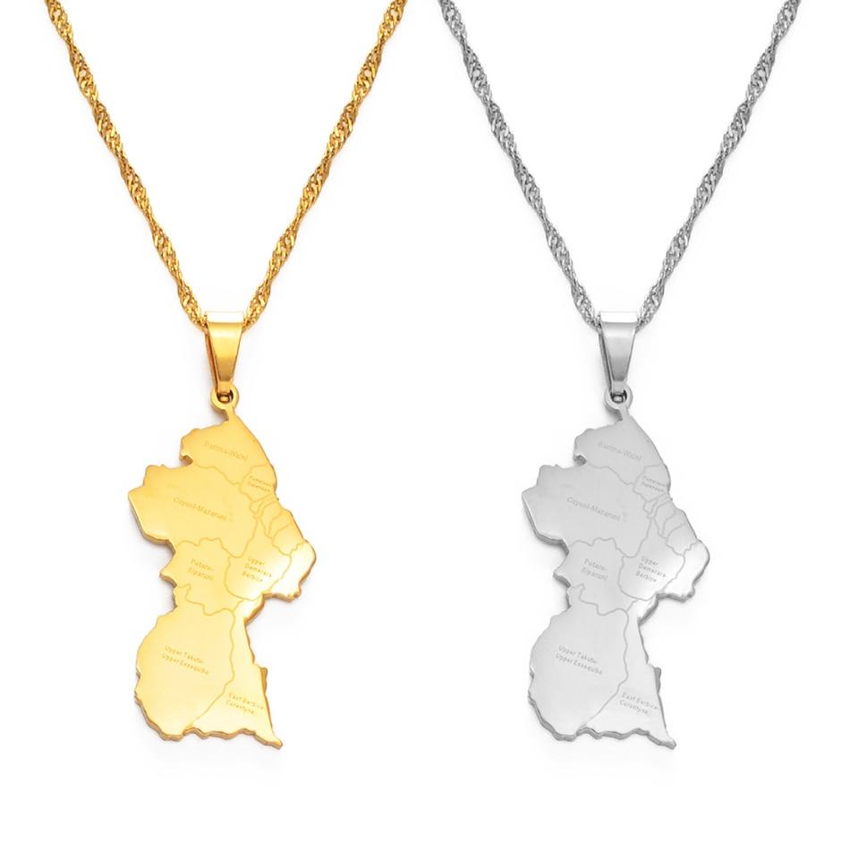 Anniyo Guyana Map City Pendant Necklace Women Girls Silver Color/Gold Color Guayana Jewelry Republic of Guyana #155421
