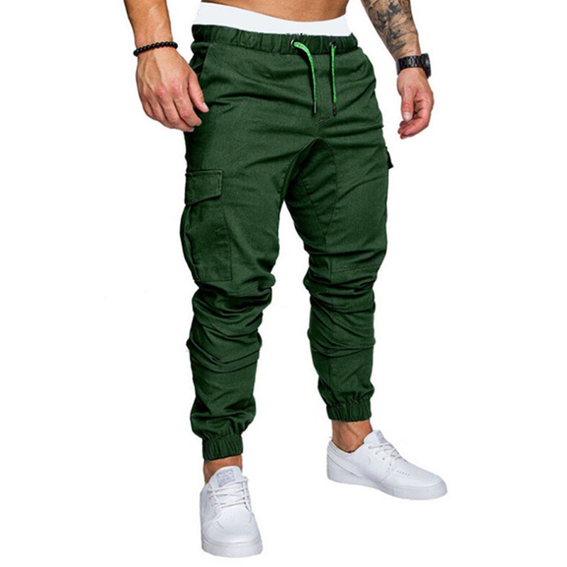 Men Cargo Pants Joggers Sweatpants Casual Male Sportswear Solid Multi-pocket Cargo Trousers Hip Hop Harem Pants