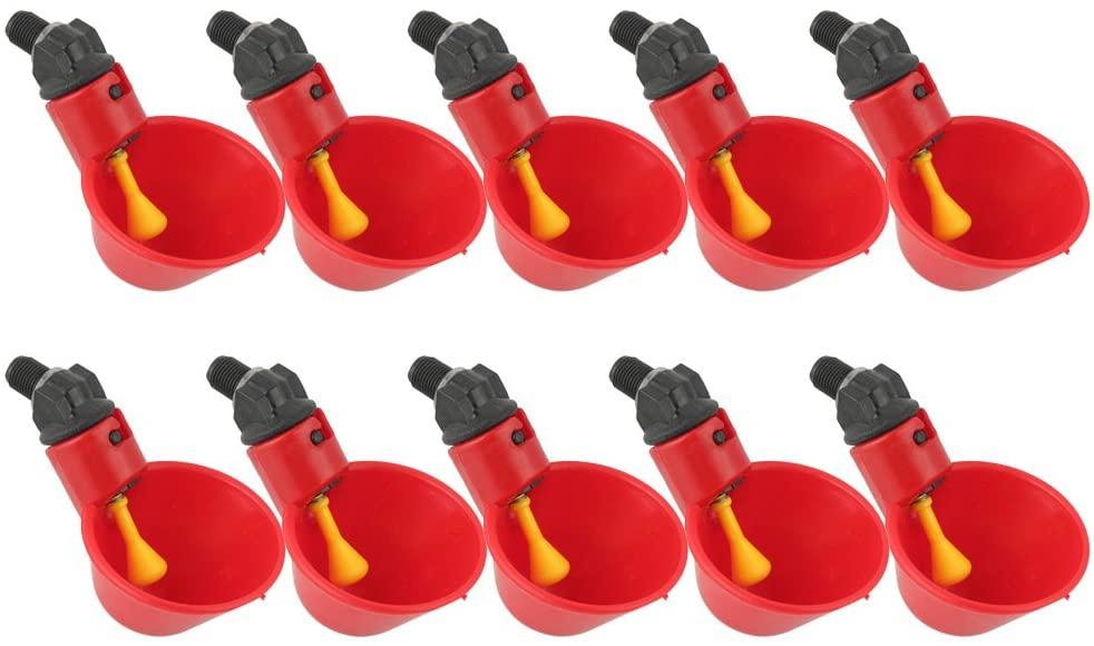 10 шт. куриный питьевой чашки автоматическая поилка курица кормушка для птиц Пластик птицы питьевой воды чашки легко Установка садовая фигура собака поилка кормушка для птиц 19 19 35см 2312570