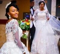 wedding dresses applique lace o neck illusion long sleeve sweep train black girl bridal gowns vestido de noiva