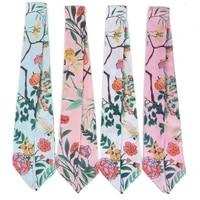 newly launched long silk scarf designer garden printing brand womens headscarf skinny bag ribbon fashion hair band c19