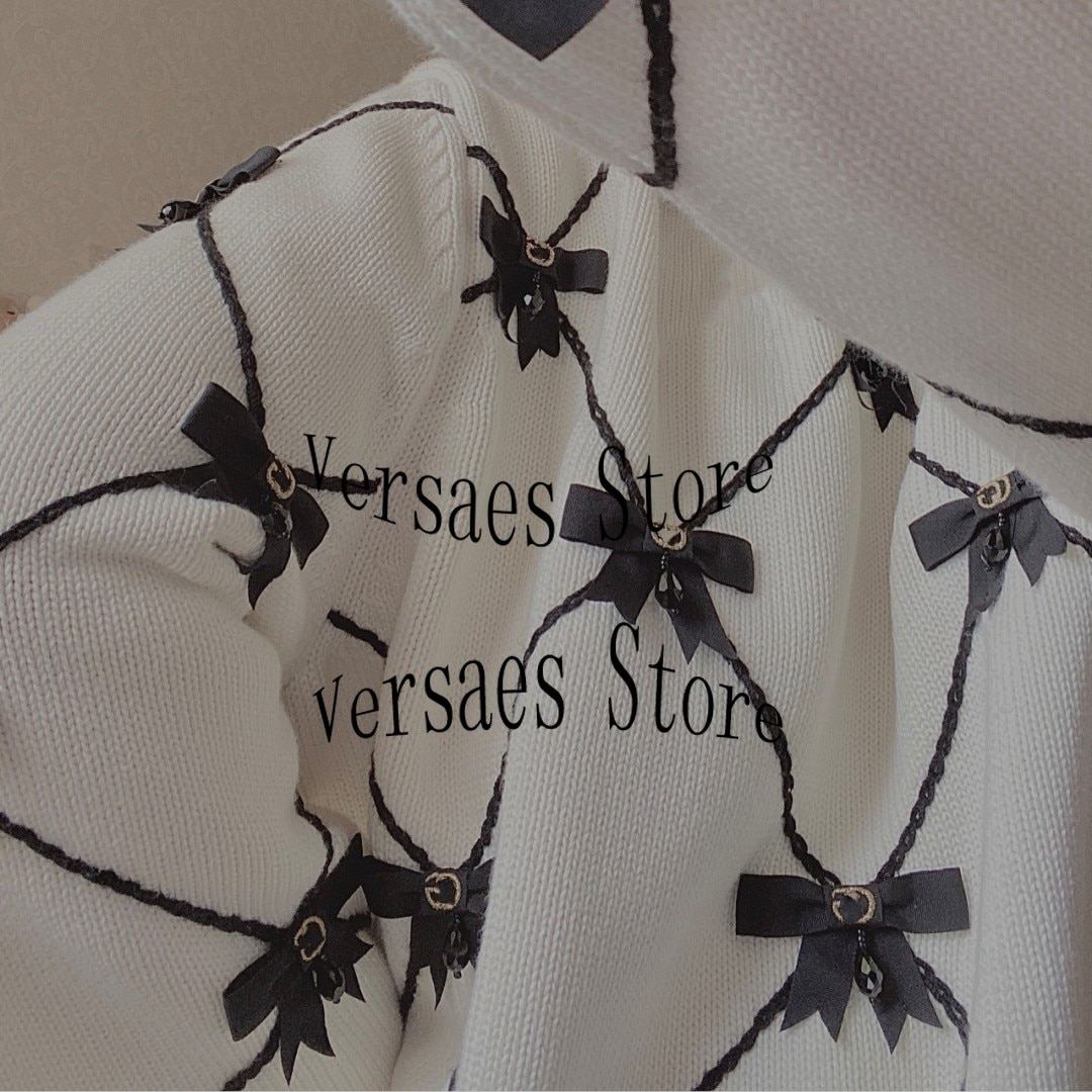 2021 luxury design letter embroidery fashion women's knitting Pullover round neck three dimensional bow long sleeve sweater enlarge