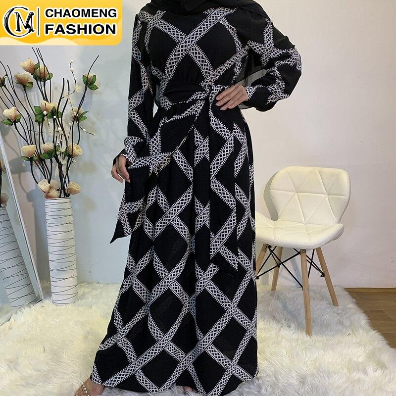وصل حديثًا فستان نسائي طويل الأكمام عباية دبي من الشيفون السميك قفطان ماكسي مطبوع فستان إسلامي تركي جديد