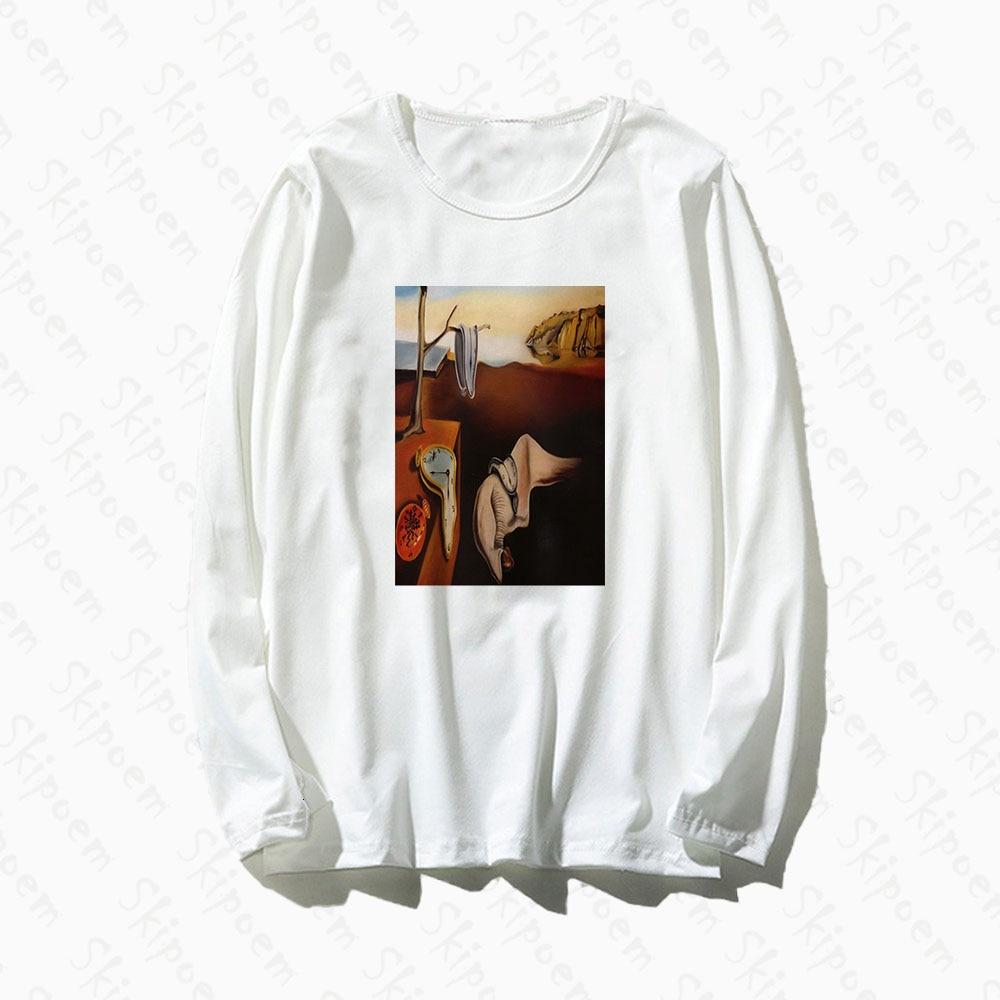Camiseta para mujer de arte Surreal de Salvador Dalí, camiseta Harajuku Tumblr estilo coreano Punk de algodón de manga larga de talla grande, camisetas