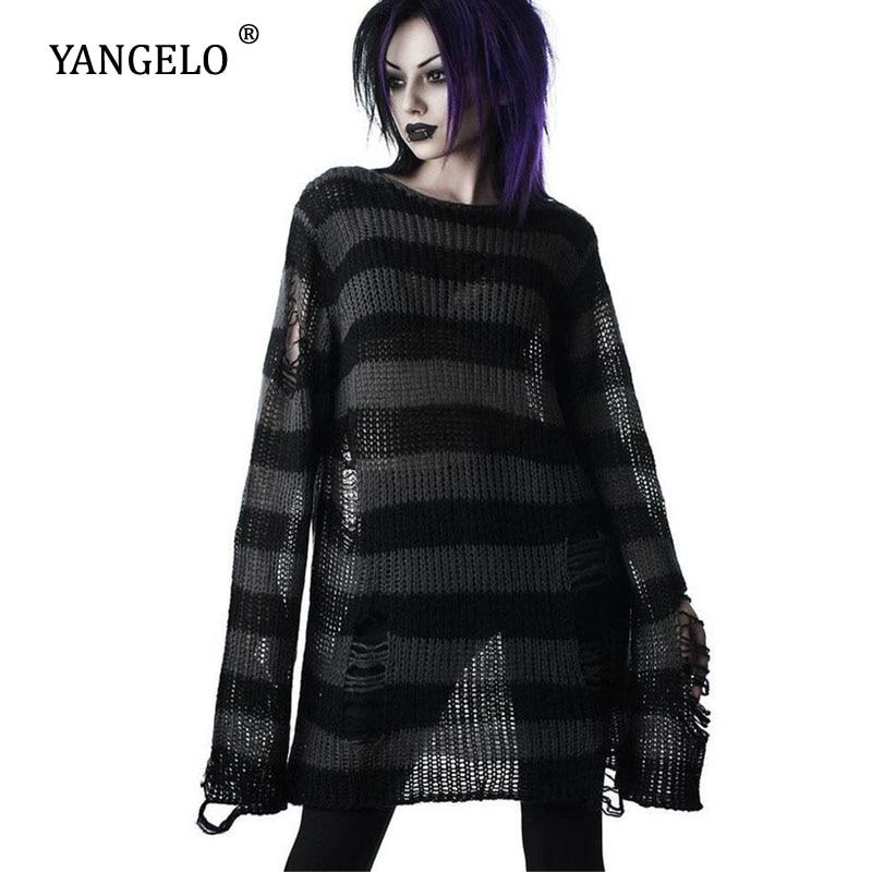 Yangelo Punk Gothic Long Unisex Sweater Women 2021 Striped Hollow Out Hole Jumper Loose Black Streetwear Pullover Top Female