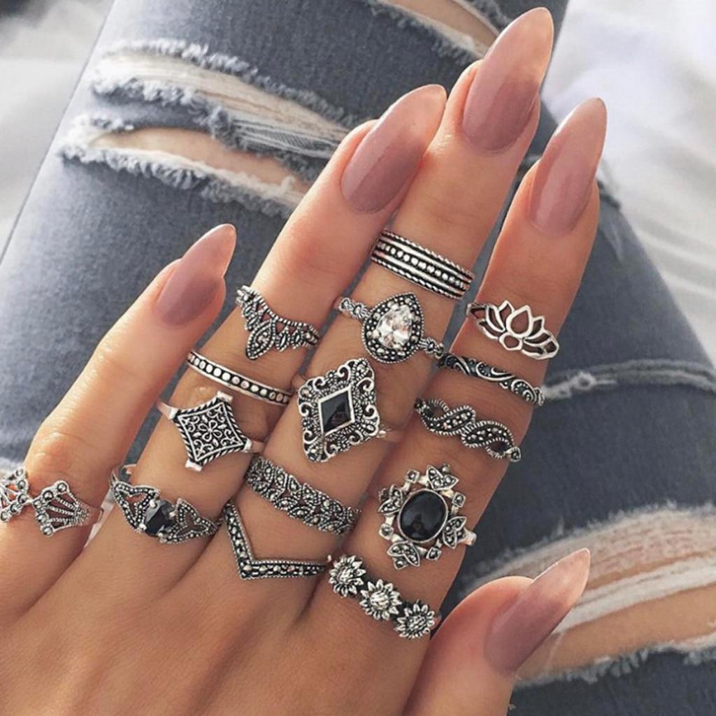 15 pcs feminino vintage anel conjunto flor coroa lótus oco para fora conjunta anel de unha para mulher tamanhos diferentes bella festa wear