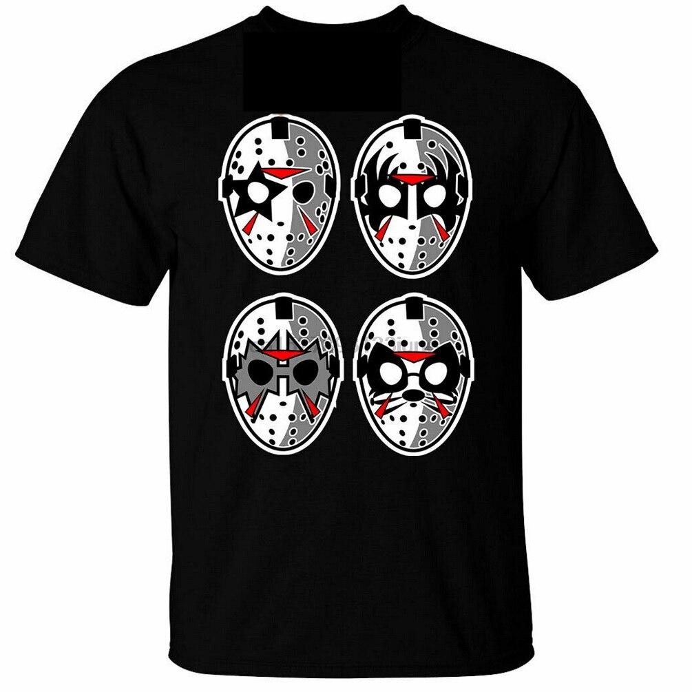 Jason máscara rock para hombre Camiseta beso cara Metal Halloween negro personalizado...