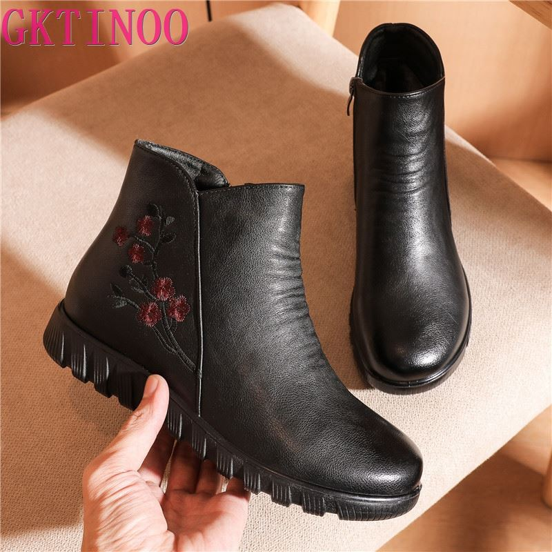 GKTINOO Winter Women's Leather Ankle Boots Lady Soft Flat Shoes Casual Comfortable Side Zip Ankle Bo