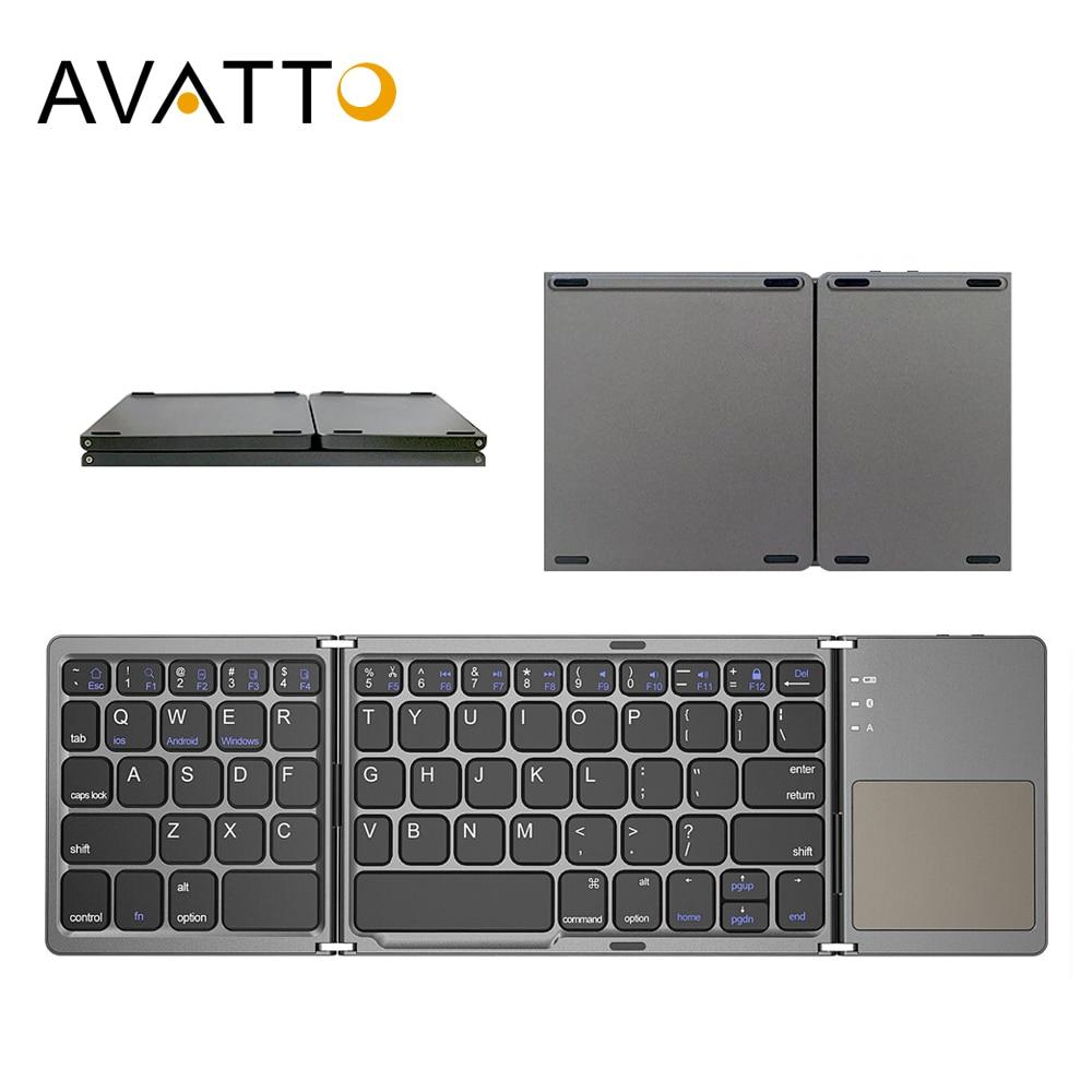 AVATTO-لوحة مفاتيح صغيرة قابلة للطي B033 روسية/إسبانية/عربية ، لوحة مفاتيح بلوتوث لاسلكية مع لوحة لمس لنظامي التشغيل Windows و Android و IOS