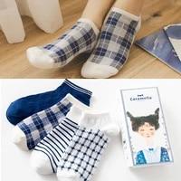 caramella 4pairslot high quality summer casual women socks new ankle socks fashion design plaid navy blue grid cotton socks