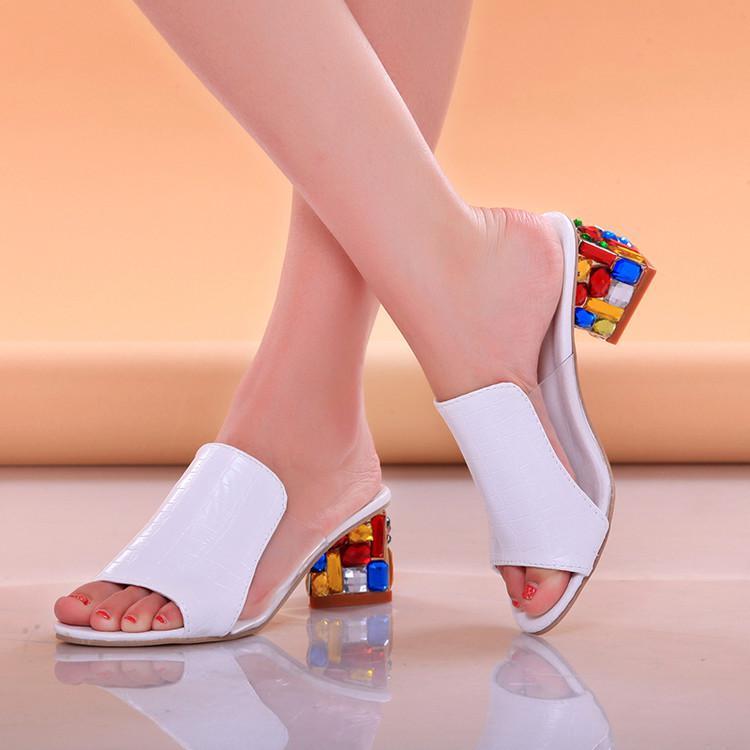 Sapatos de cristal da forma das mulheres strass sandálias chinelos senhoras verão sShoes mulheres sandálias peep toe de salto alto de praia slides