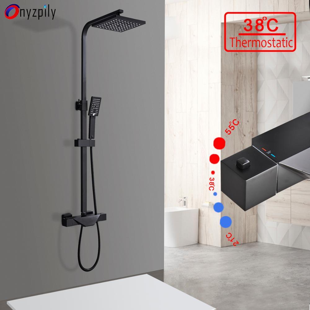 Onyzpily torneira de chuveiro, torneira termoestática preta cromada para banheiro, chuveiro abs, alças, água quente e fria