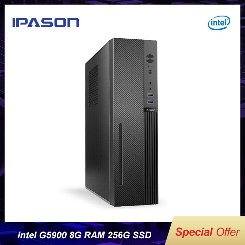 Intel Настольный ПК IPASON Самый дешевый Core G5900 безвентиляторный мини ПК Windows10 Barebone компьютер DDR4 8G 255G SSD HTPS WiFi HDMI VGA