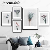 vintage flower canvas poster pink tulip pineapple painting wall art nordic home living room decoration accessories