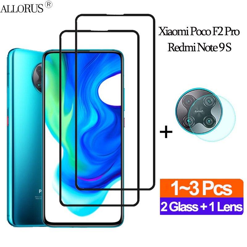 1 + 2 uds cubierta completa cristal poco f2 pro redmi note 9s protector de pantalla redmi 9s note 9promax protector pantalla xiaomi armadura trasera transparente lente cristal templado xiaomi pocofone f2 pro glass