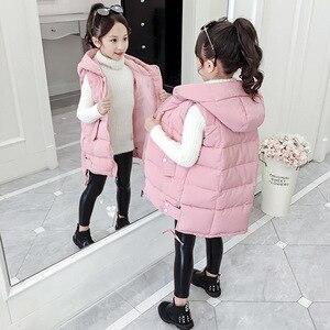 Осенне-зимний теплый жилет с капюшоном для детей, утепленный детский пуховик без рукавов для девочек, утепленный жилет для подростков