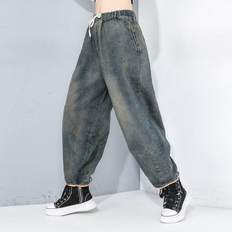 Korea Blue Long Leisure Drawtring Wide Leg Jeans New High Waist Loose Women Trousers Fashion Tide Spring Autumn 2020 1R183