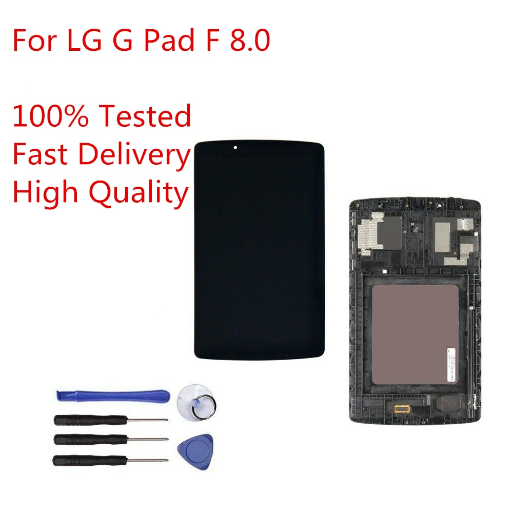 Sinbeda  For LG G Pad F V495 V496 V497 V498 LCD Display Touch Screen Digitizer Assembly with Frame For LG G Pad F V495 8.0 LCD