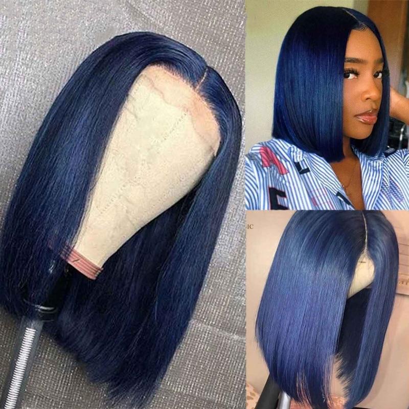 Blue Bob Human Hair Wig Colored Short Bob Wig Dark Blue Straight Bob Lace Front Wigs Human Hair Wigs For Women 180 Density