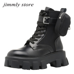 Women Platform Boots Pocket Buckle Strap Motorcycle Boots Womens Riding Boots Punk Shoes Luxury Brand Design
