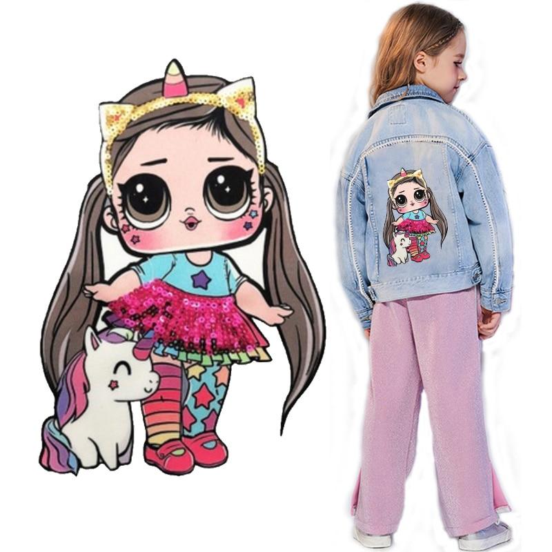 Parche bordado LOL doll girl con lentejuelas para ropa DIY, Parche de dibujos animados para mujer