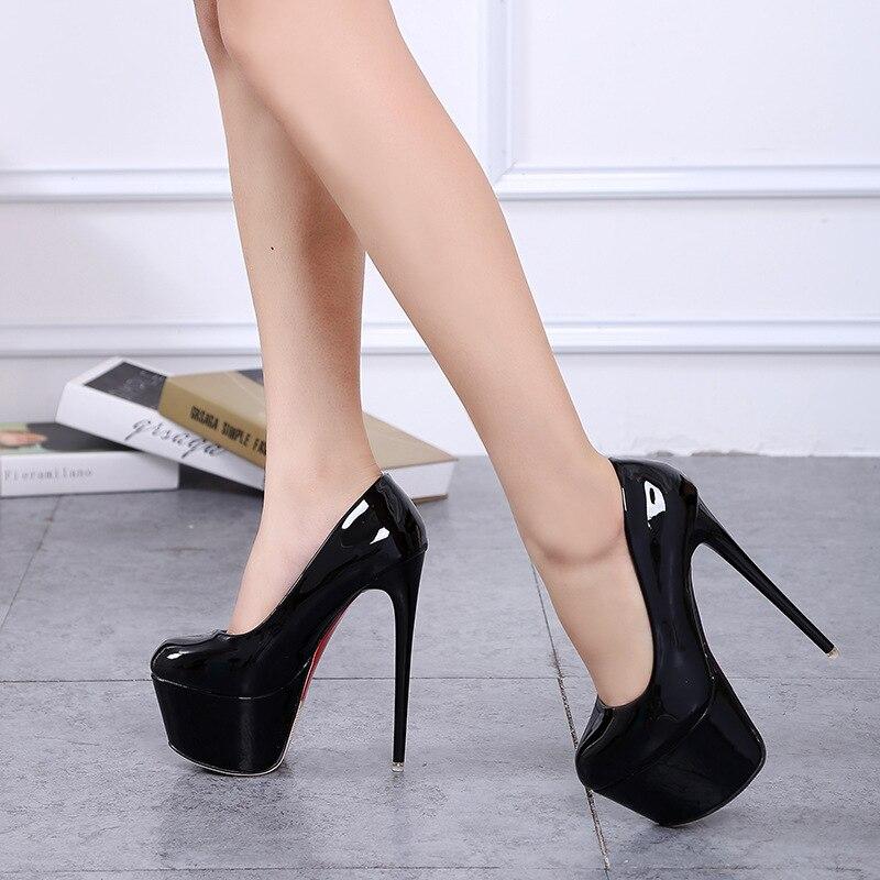 Zapatos de tacón súper alto de moda para mujer, zapatos de plataforma tacones concisos de 5 CM, zapatos de fiesta de boda Sexy de 15 cm, zapatos de charol RA-31