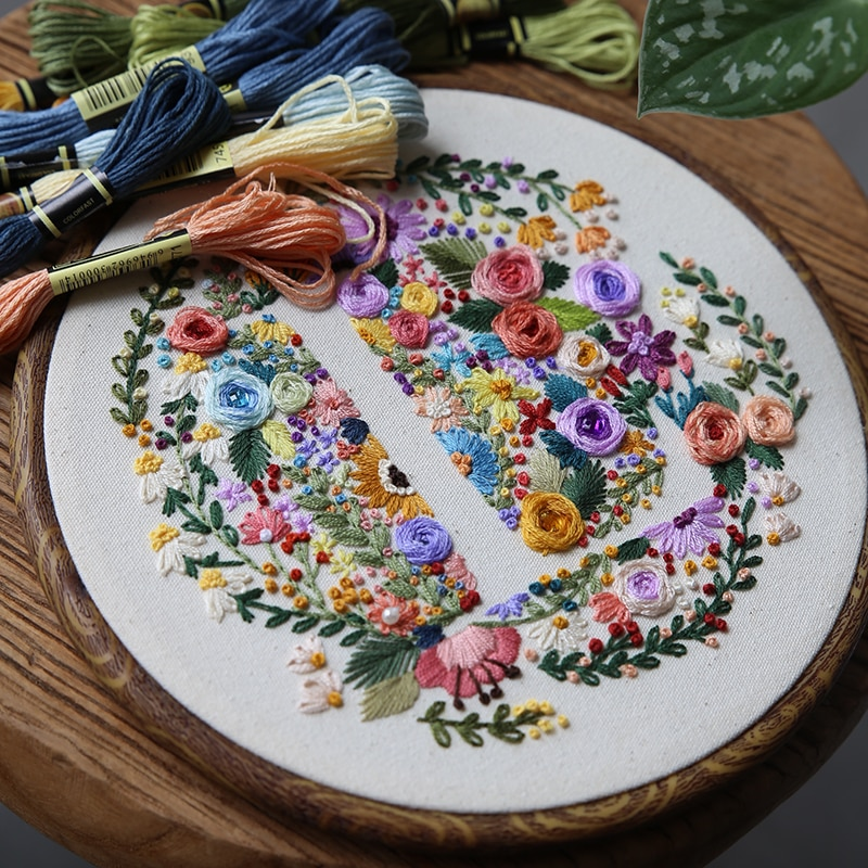 Original Flower Lining Series Letter Embroidery Material Package Spring Festival Gift Handmade DIY Home