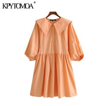 KPYTOMOA Women 2020 Sweet Fashion Solid Pleated Mini Dress Vintage Peter pan Collar Three Quarter Sleeve Female Dresses Vestidos