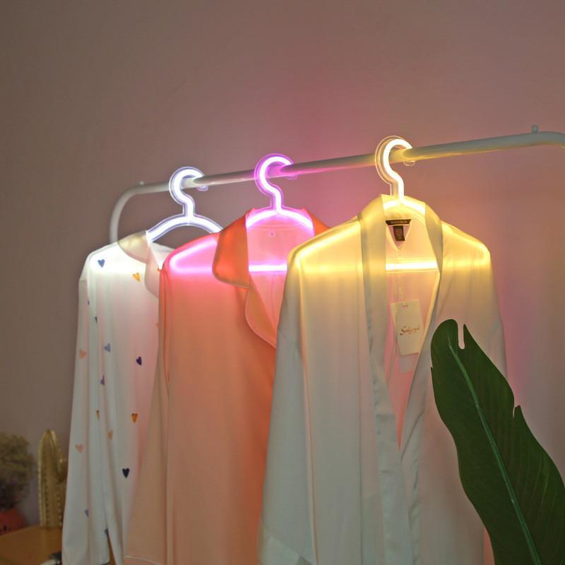 شماعات ملابس Led إبداعية ، ضوء نيون ، مصباح داخلي ، عرض ، فستان زفاف رومانسي ، حامل ملابس مزخرف
