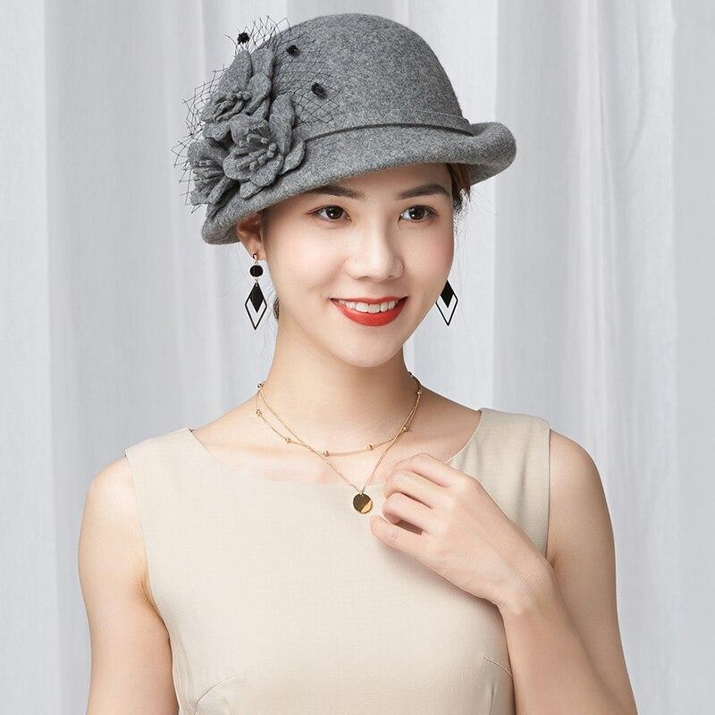 Beckyruiwu Lady Party Formal Cloche Hats Elegant Fedora Hat Women Winter Asymmetric Brim 100% Wool Felt Beret Cap vintage wool felt octagonal cloche hat