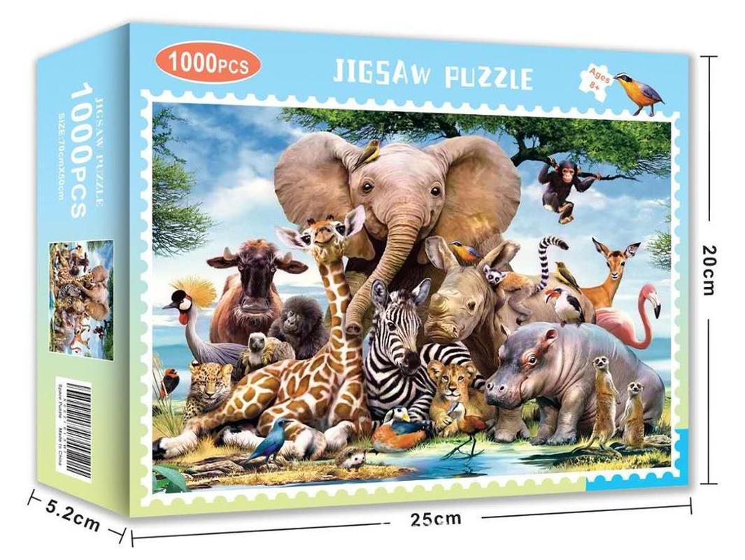 Rompecabezas de animales para adultos 1000 Uds., Escena de jungla, elefante, León, rompecabezas de animales para niños, puzle de ensamblar adultos, regalos de juegos