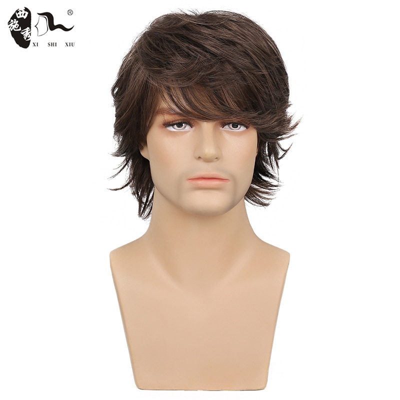 XISHIXIU HAIR 2020 10inch Wig Short Black Male Straight Synthetic Wig for Men Hair Fleeciness Realistic Natural Light Brown Wigs