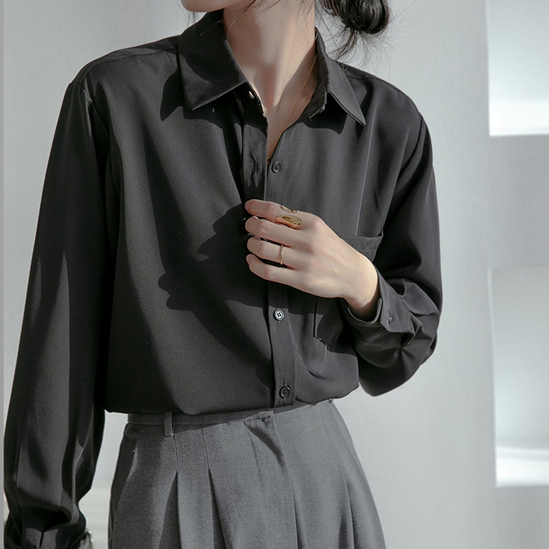 Hc46a629c716c494c8e46f8fdef01dd24h - Spring / Autumn Turn-Down Collar Long Sleeves Solid Pocket Blouse