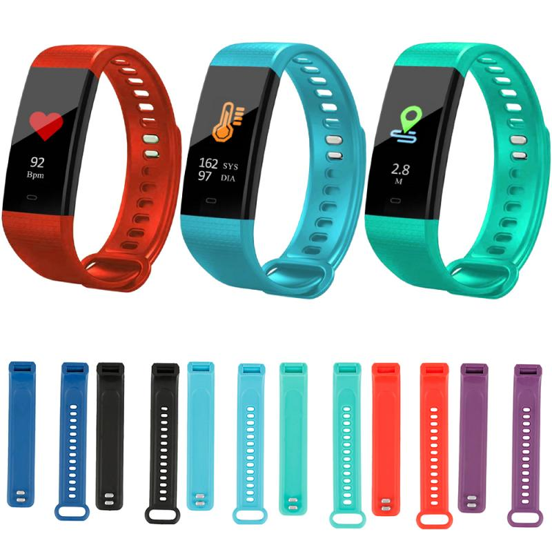 6 أنواع شريط للرسغ لينة حزام الساعات الرياضة سيليكون حزام استبدال حزام ساعة اليد ل Y5 سوار ذكي الملحقات الذكية