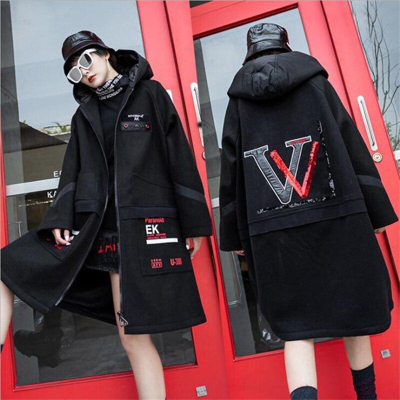 2020 Super Warm Plus velvet trench coat Streetwear hip hop punk hood moda feminina Black pocket sequin letter design long coat