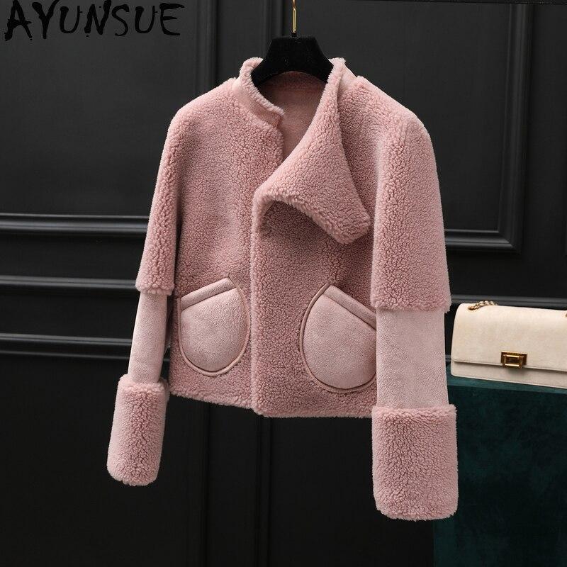 AYUNSUE Winter Coat Women Real Fur Coat Female Sheep Shearling Fur Jacket Women Clothes 2019 Korean Jackets Manteau Femme MY4581