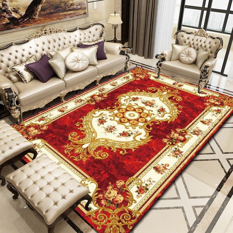 European Soft Abstract Geometric Large Palace Vintage Carpet Non-slip Large Rug Antifouling Living Room Bedroom Rug Parlor
