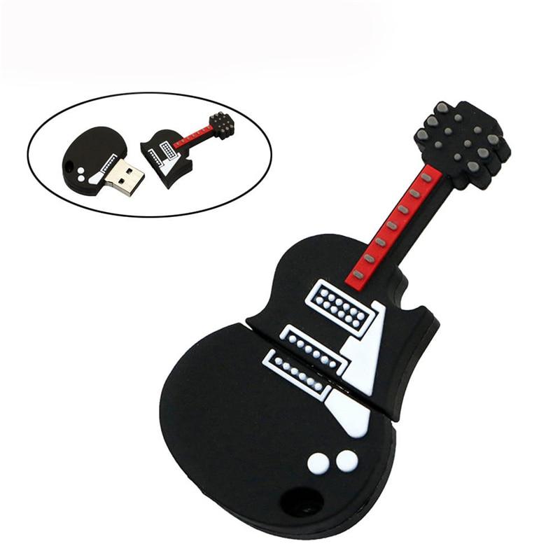Flash U disk Black Music Electric Guitar Thumb drives Pendrive 256GB 64GB 16GB 32 4GB 8GB 128GB Pen Drive USB2.0 memory Stick