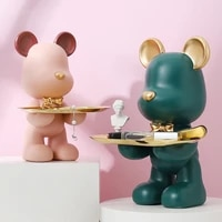 home room decorfigurine miniaturecute bearsculpturetable decorationmodernmultifunctiondesktop storagedecorative statue