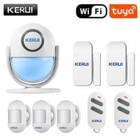KERUI     systeme dalarme de securite sans fil Tuya  wi-fi  detecteur PIR  fonctionne avec Alexa  120db  application Tuya  pour maison intelligente