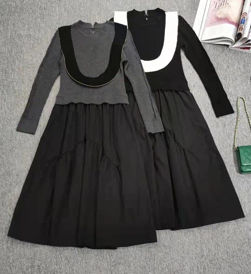 فستان قطعة واحدة موضة خريف وشتاء 2021 فستان محبوك عالي الجودة فستان نسائي مكشكش بأكمام طويلة غير رسمي رمادي أسود XL