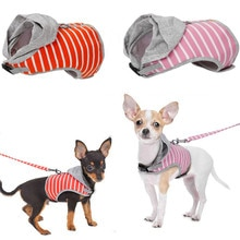 Hooded vest Stripe Dog Harness and Leash Pet Puppy Cat Vest Jacket For Small Medium Dogs Teddy Chihu