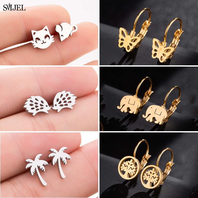 SMJEL Stainless Steel Stud Earrings for Women Small Butterfly Elephant Coconut Tree Earings Jewelry