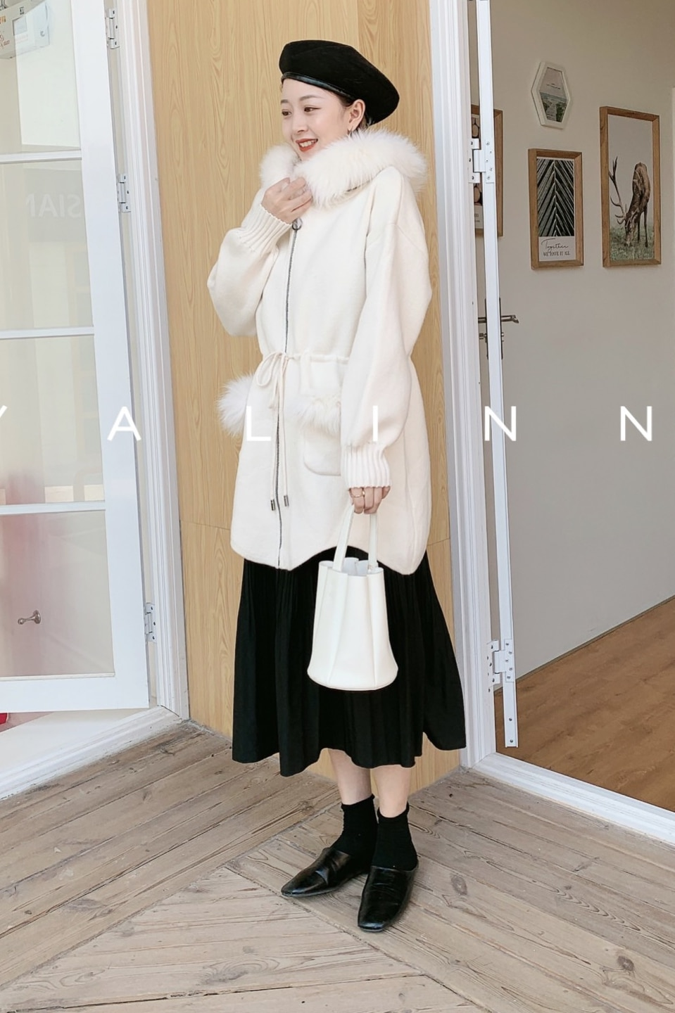 Cardigan Feminino 2020 Winter Solid New Lazy Wind Wave For Edge Real Fox Fur Collar Pocket Long Sweater Strap Knitted Jacket enlarge