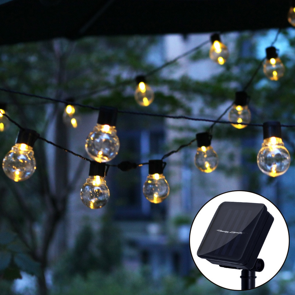 Solar Outdoor Lighting Waterproof 20 LED Ball Bulb Holiday Outside Garden Decoration Light With Hook String Lights Wall Lamp