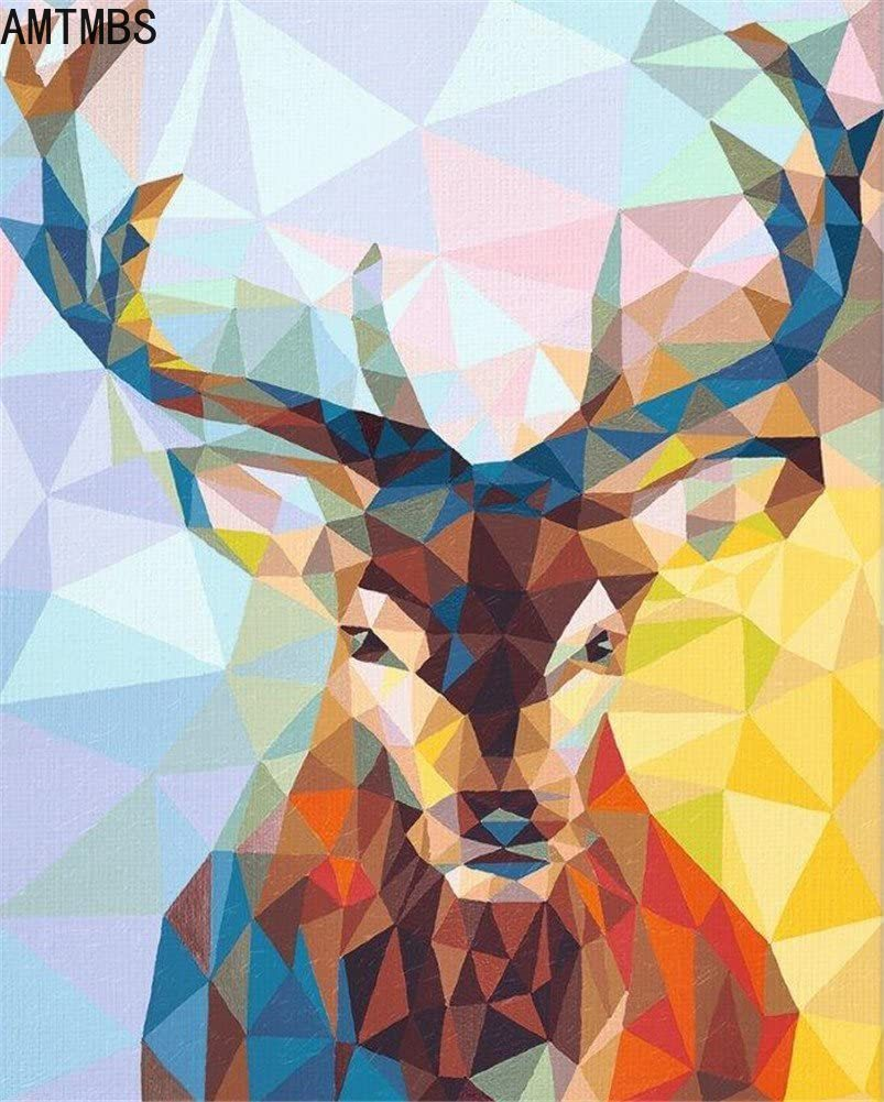 AMTMBS абстрактная краска для оленей, ing по номерам, Масляная Краска на холсте, ручная краска ed Cuadros Decoracion, акриловая краска для животных, домашн...