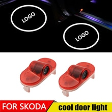 2pcs/lot Car LED Courtesy ghost shadow welcome light Laser logo projector door lamp For Skoda Octvia 2004-2008